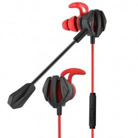 DrPhone G6 AUX 3.5mm Bedrade In-Ear Headset – Passieve Ruis onderdrukking - Bass Met Dual Microfoon Voor PC/Gaming - Rood