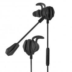 DrPhone G6 AUX 3.5mm Bedrade In-Ear Headset – Passieve Ruis onderdrukking - Bass Met Dual Microfoon Voor PC/Gaming - Zwart