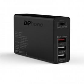 DrPhone WL20 100W 4-Poort USB C Adapter PD 3.0 100W + Qualcom 3.0 & 2.4A - Type C Snelle Oplader - Zwart