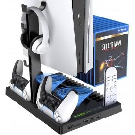 DrPhone Multifunctionele Verticale Standhouder – Geschikt voor PS5 - Koptelefoon / Oplaadstation/ Koelventilator & Game Opslag