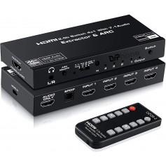 DrPhone ARC8 4K@60Hz HDMI 2.0b Switch & ARC/SPDIF – HDCP 2.2 - 7.1 Audio Extractor/ Optical 5.1CH/3.5mm Audio