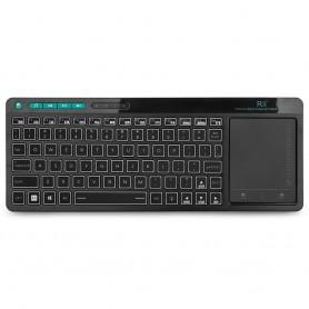 Rii K18 Plus Draadloze 2.4GHz USB 3-LED-Multimedia Toetsenbord met achtergrondverlichting en multi-touch groot trackpad - Zwart
