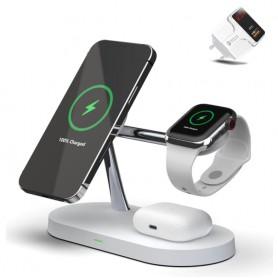 DrPhone Legend8 – 5 In 1 – 15W Draadloze Oplaadstation - Geschikt voor Magsafe - Apple iPhone 12 - Apple Watch - Airpods