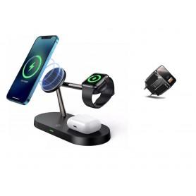 DrPhone Legend8 – 5 In 1 – 15W Draadloze Oplaadstation - Geschikt voor Magsafe - Apple iPhone 12 - Apple Watch - Airpods - Zwart