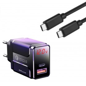 DrPhone HALO5 Qualcom 3.0 Quick Charge 18W Thuislader + PDTC1 USB-C Naar USB-C Fast Charger 2 Meter & LED-display - Zwart