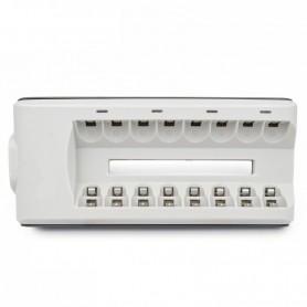 DrPhone 8 Slots - Batterijlader voor AA-AAA-NiMH - NiCd - Oplaadbare batterijen (batterijen niet inbegrepen) - Wit