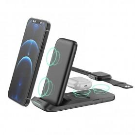 DrPhone DFC6 3 in 1 Draadloos laadstation – 15W – Opvouwbaar - Geschikt voor o.a Apple Watch/ iPhone 11/12/Airpods / S21/S20 etc