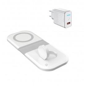 DrPhone iOM - 15W Opvouwbare Lader - Qi Magnetische Snelle Draadloze Oplader - Geschikt voor Magsafe - iPhone 12 / Airpods