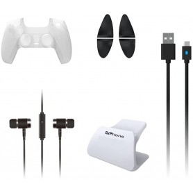 DrPhone PP1 8 in 1 Bescherm Pakket Geschikt voor PS5 met Siliconen Case /Oordoppen/ Triggerknoppen/Houder & Oplaadkabel