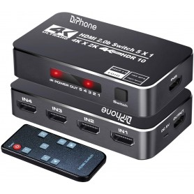 DrPhone ARC4 HDMI 2.0B HDMI Switch - HDR10 - 5 Poorten 4K 60Hz - Ondersteunt Dolby -Max tot 18.5Gbps- HDCP 2.2 & 3D