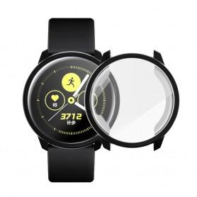 DrPhone SWC TPU Siliconen Case – Geschikt voor Galaxy Watch Active2 40mm - Ingebouwde Screen Protector - Soft Shell – Zwart