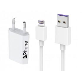 DrPhone LS1 USB Lader Stekker Oplader + Kabel 2.4A- 2 Meter - Oplaadkabel – Adapter – Geschikt voor o.a Apple iPhone /iPad/iPod