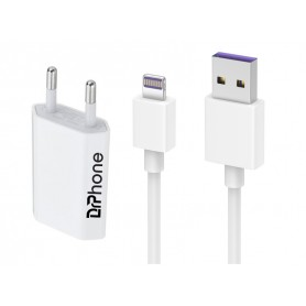 DrPhone LS1 USB Lader Stekker Oplader + Kabel 2.4A- 3 Meter - Oplaadkabel – Adapter – Geschikt voor o.a Apple iPhone /iPad/iPod