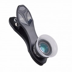 DrPhone APEX - Smartphone Lens - Super Macro (Microscoop Lens) 12x + 24X - 2 In 1 Clip-On kit - Zwart