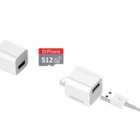DrPhone Cube + 256GB Micro SD - Automatische Backup Bestanden - Geschikt voor iPhone / iPad + App - voor Foto's / Video's