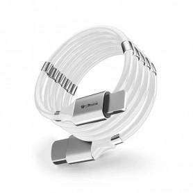 DrPhone MAG - 3A Kabel - Magnetisch Oprolsysteem - Geschikt voor USB-C Naar USB-C - 1 Meter Oplaad kabel – Wit