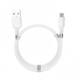 DrPhone MAG - 3A Kabel - Magnetisch Oprolsysteem - Geschikt voor Micro USB - 1 Meter Oplaad kabel – Wit