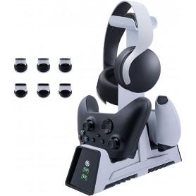 DrPhone MDC5 Dubbele Magnetische Laadstation met headset houder & Led-indicator - Geschikt voor Controllers voor o.a PS/Xbox etc