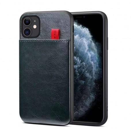 DrPhone - Pu Lederen - Siliconen Case - Geschikt voor iPhone 11 Pro Max - Kaarthouder – zwart