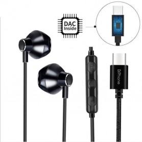DrPhone Hi12 USB C Oordoppen – met ingebouwde DAC- 36 Bit - HiFi Stereo Headset met Mic + Volume Controle & Bass - Zwart