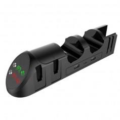 DrPhone NSOS 6 in 1 Oplaad Station– Geschikt voor voor Nintendo Switch/ 4 Joy Con en 2 Pro-controllers met USB 2.0 - Zwart