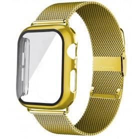 DrPhone APX1 - Siliconen Polsband - 44mm Metalen armband + TPU Hoesje - Geschikt voor Apple Watch - Goud