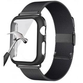 DrPhone APX1 - Siliconen Polsband - 44mm Metalen armband + TPU Hoesje - Geschikt voor Apple Watch - Zwart