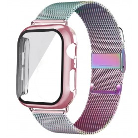 DrPhone APX1 - Siliconen Polsband - 44mm Metalen armband + TPU Hoesje - Geschikt voor Apple Watch - RGB