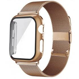 DrPhone APX1 - Siliconen Polsband - 40mm Metalen armband + TPU Hoesje - Geschikt voor Apple Watch - Roze Goud