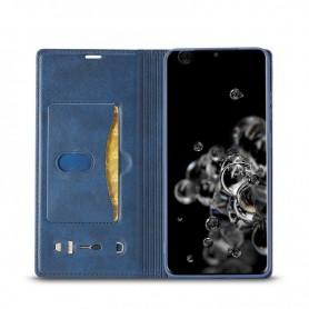 DrPhone CIMKEE 2- Pashouder - PU leer - Magnetische Flip - Galaxy S21 Ultra - blauw