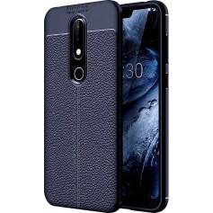 DrPhone Nokia 6.1 Pro (2018) TPU Siliconen Autofocus Hoesje - Leren Achterkant Textuur [Valbescherming /