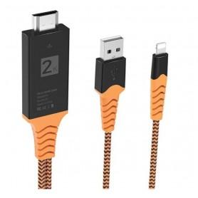 DrPhone Lightning naar HDTV Kabel + Opladen – Powercharge – Gevlochten & Stevig – 1080P HD – 2 meter – Plug and Play – Oranje