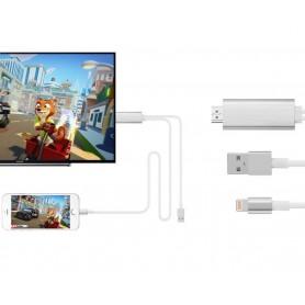 DrPhone HD1 - Lightning HDTV Kabel - HDMI Adapter + Kabel - Plug & Play - Unierseel Voor Apple iPhone en iPad - Wit