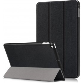 Tri-Fold - Opvouwbare Cover - PU Lederen Case - Voorkant + Achterkant - Voor iPad Mini 4 - 2015 - zwart