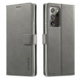 DrPhone SN2 - Samsung Galaxy Note 20 Ultra - PU Lederen hoesje - Pasjeshouder - Flip cover - Grijs