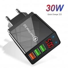 DrPhone HALO8 - Usb adapter met 3 poorten - Usb lader - 30W - Quick Charger 3.0 - Zwart
