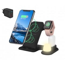 DrPhone LEGEND2 - 4 in 1 - Oplader Dock Met Nachtlamp - Oplaadstation voor. Apple iPhone / Samsung - Watch + Airpods - Zwart