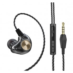 DrPhone HK1 Bedraad Aux 3.5mm In-Ear Oordoppen - Hybrid HIFI Oortelefoon met 5D Bass & Passief Ruisonderdrukking – Zwart/Goud