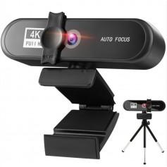 DrPhone CW7 - 4K Webcam – 3840x2160p – met Microfoon/Statief en Privacykap - Autofocus - Groothoek – 8MP - Zwart