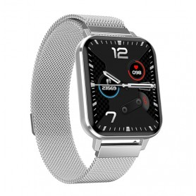 DrPhone CurvX2 - IP68 Waterdichte 1.78 Inch Grote Scherm - Smartwatch voor Mannen Vrouwen - ECG Hartslag Bloeddrukmeter - Zilver