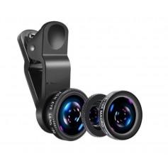 DrPhone PiX - 180° Lens Universele Premium 3 in 1 Fish Eye Lens - Macro Lens / Wide Lens / Fish Eye lens Kit - Zwart