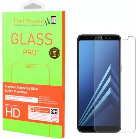 DrPhone 1 x A8 2018 Glas - Glazen Screen protector - Tempered Glass 2.5D 9H (0.26mm)