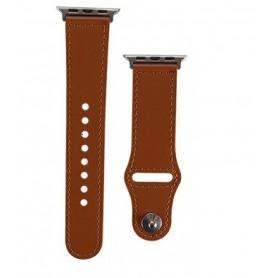 DrPhone LB3 - Lederen Armband - Geschikt voor Apple Watch 38/40mm - Modieuze Horlogeband - Donkerbruin met Zwartte Adapter