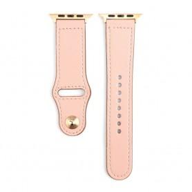 DrPhone LB3 - Lederen Armband - Geschikt voor Apple Watch 38/40mm - Modieuze Horlogeband Roze met Zwartte Adapter