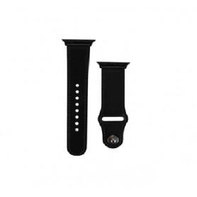 DrPhone LB3 - Lederen Armband - Geschikt voor Apple Watch 44/42mm - Modieuze Horlogeband - Zwart met Zwartte Adapter