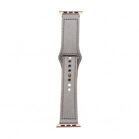 DrPhone LB3 - Lederen Armband - Geschikt voor Apple Watch 44/42mm - Modieuze Horlogeband - Grijs met Zwartte Adapter