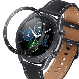 DrPhone BR1 Metalen RVS Bezel Ring – Randbeschermer - Geschikt voor Samsung Galaxy Watch 3 41 mm - Anti-kras - Zwart