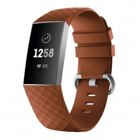 DrPhone HB1 - Horloge Band - Siliconen - FitBit Charge 3 - Regelbare Standen - Grijze Gesp - Bruin