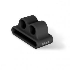 DrPhone DOS Oortelefoon Siliconen Standhouder – Houder – Clip - Geschikt voor o.a AirPods / AirPods Pro / EarPods - Zwart