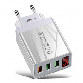 DrPhone HALO8 - USB adapter met 3 poorten + LED Voltage Indicator - USB Oplader - 30W - Quick Charger 3.0 - Wit
